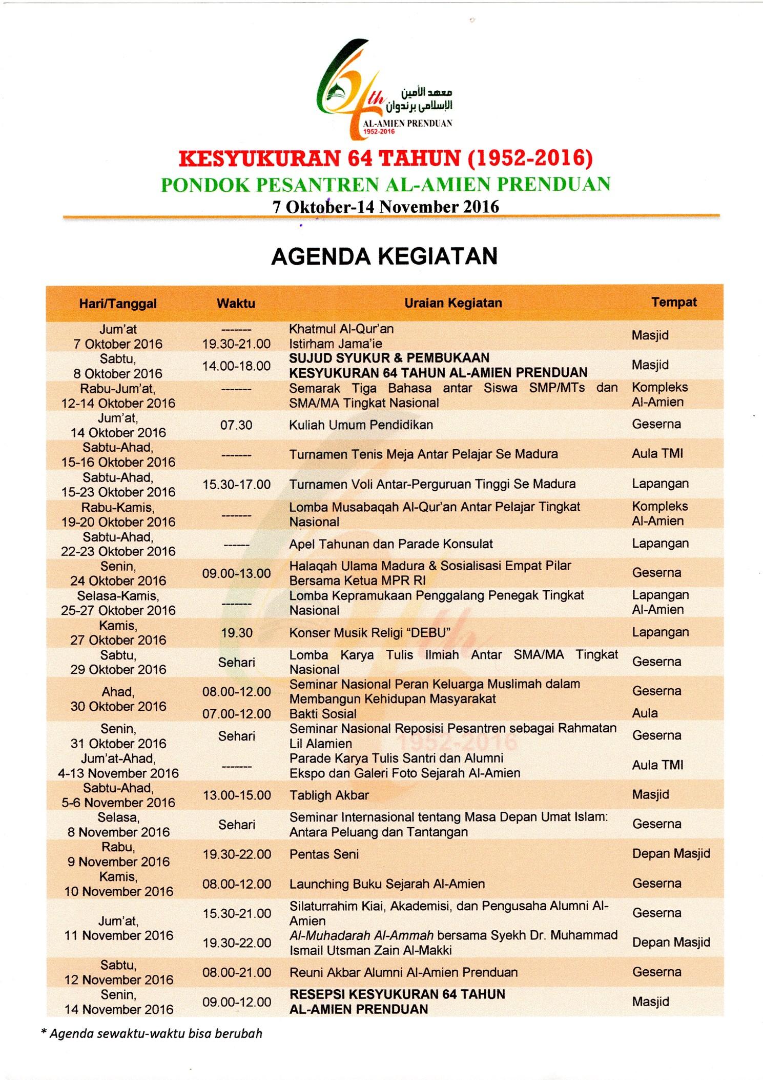 Agenda Kegiatan 30 September 2016